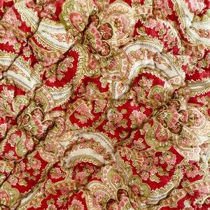 Pottery Barn Red Paisley Floral Quilted Sham